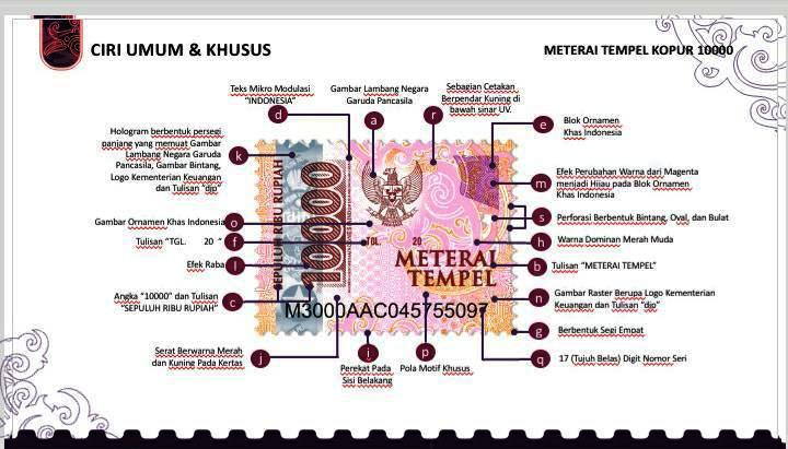 "Melansir dari Wartakota.Tribunnews, ciri umum dari materai baru 10 ribu adalah gambar lambang Garuda Pancasila, angka ""10.000"" dan tulisan ""Sepuluh Ribu Rupiah""."